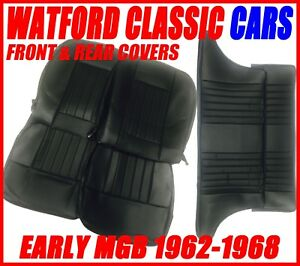 Mgb Gt Front And Rear Seat Covers 1962 1968 Black With Black Piping