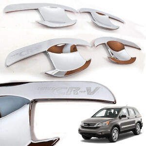 Fit 2007 2011 Honda Cr v 4 Door Handle Cover Bowl Insert Cap Trim Chrome 1 Set