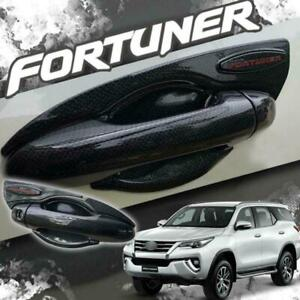 Fit 2016 2018 Toyota Fortuner Door Handle And Bowl Carbon Black Cover