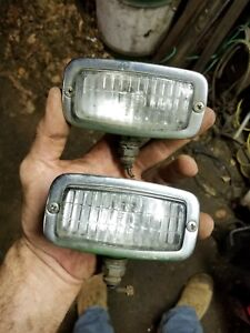 Vintage Used John Deere Tractor Mower Chrome Headlight Work Light Pair Rat Rod