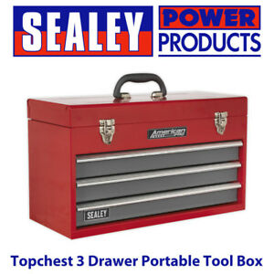 Sealey Ap9243bb Topchest 3 Drawer Portable Tool Box With Ball Bearing Runners