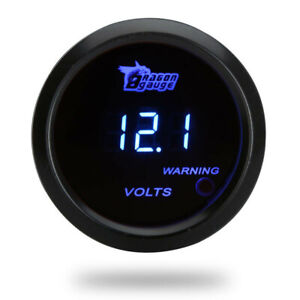 Car Auto 2 Inch 52mm Blue Light Digital Led Volt Voltage Meter Gauge Boat Black