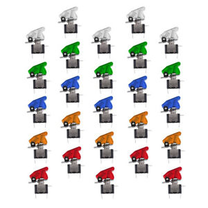 25pcs 12v 20a Rocker Toggle Switch With Cover Spst On off For Car Truck Boat
