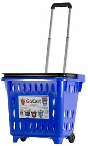 Gocart Blue Grocery Shopping Basket Rolling Laundry Cart New