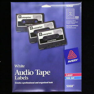 Avery Laser 5068 White Audio Tape Lot 5 New Packages 1500 Labels