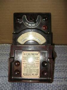 Vintage Weston Model 330 A C Voltmeter Bakelite Railroad Steampunk Original