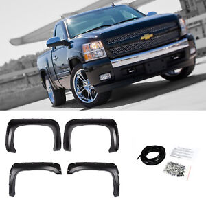 2007 2013 Chevy Silverado 1500 2500hd 3500hd Black Pocket Rivet Fender Flares