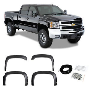 Pocket Riveted Textured Fender Flares For 07 13 Chevy Silverado Short Bed 69 3