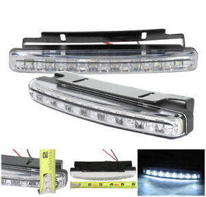 2 Pc 6000k Super White Drl 8 led Daytime Running Lights Fog Lamp Chrome Drl