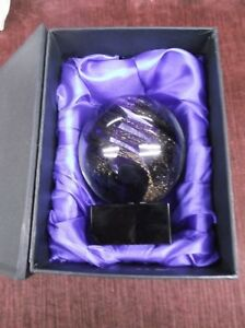 Trophy Parts Glass Award Round Purple With Gold Sparckle Swrill Free Lettering