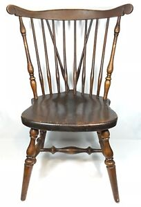 Ethan Allen American Traditional Cherry Fiddleback Dining Room Chair Windsor