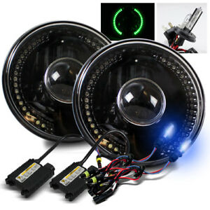 H6024 7 Round Black Housing Glass Green Led Projector Headlight 10000k H4 2 Hid