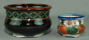 Incense Burner Koro Brush Washer Taisho Early 20th Century Pair Hand Made Pots