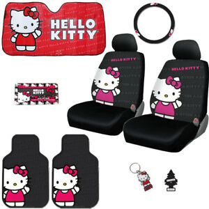 For Nissan 8pc Hello Kitty Car Truck Seat Steering Covers Mats Accessories Set