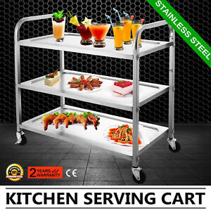 3 tier Stainless Steel Commercial Bus Cart Kitchen Catering Rolling Cart 330lbs