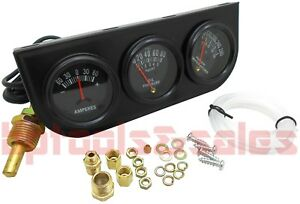 Mechanical Triple Auto Gauge Set 4 Cars Trucks Amperes Water Oil Pressure Temp