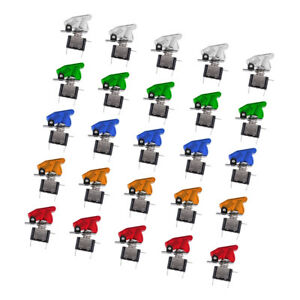 25pcs 12v Safety Cover Led Light Spst Toggle Switch For Car Truck Boat Atv