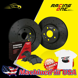 Racing One Front Black Drilled Slotted Brake Rotor ceramic Pad Fit Honda Crx Sol