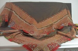 Authentic Antique Kashmir Paisley Throw Shawl Tt788