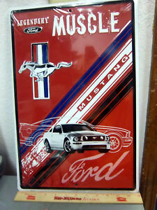 LARGE 18 x 12 inch Ford Mustang Muscle embossed Metal Sign  Car & Logo  NEW