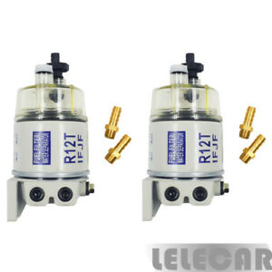 2 Packs Fuel Fittings Marine Spin on Fuel Filter water Separator R12t For Racor