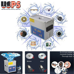2l Ultrasonic Cleaner 110v Stainless Steel Industry Heated Heater Tank Timer Us