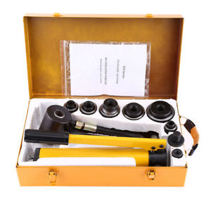 10 15ton 6 Die Hydraulic Knockout Punch Driver Kit Hole Hand Tool Conduit Us