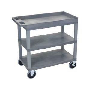 Luxor Ec122 32x18 Cart With 2x Flat 1x Tub Shelves And Hd Caster Gray