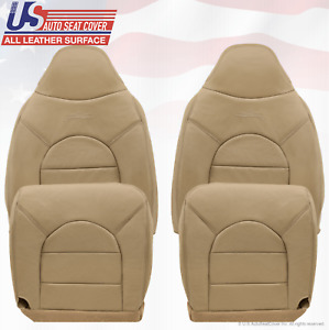 2000 Ford F250 F350 F450 Lariat Front 2x Tops 2x Bottoms Leather Seat Covers Tan