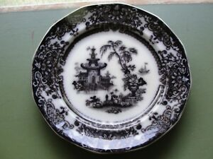 Podmore Walker Staffordshire Flow Mulberry Black Corean Transfer Plate 1850 1865