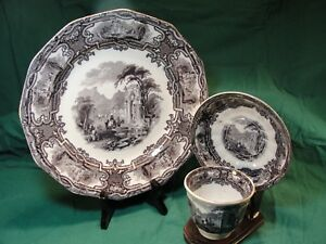 3 Davenport Iron Stone Flow Mulberry Black Genoa Transferware Items 1840 S