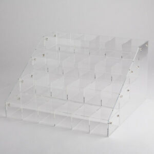 Clear Acrylic 4 Tier Shelves Countertop Display Plexiglass Riser With 24 Bins