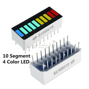 2 5 10pcs 10 Segment Colorful Led Bar Graph Indicator Dip Red Green Blue Yellow