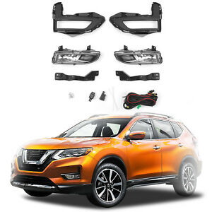 For 2017 2018 Nissan Rogue X trail Fog Light Full Kit W Wring Switch Clear