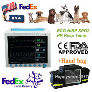 With Bag Cms8000vet Veterinary Patient Monitor 6 Parameter Vital Signs Icu Fedex