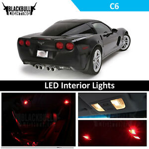 Red Interior Lights Package Accessories Kit Fits 2005 2013 Corvette C6 12 Bulbs