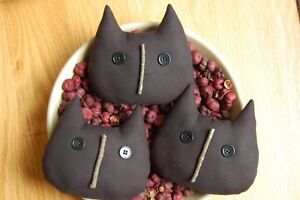 Primitive Halloween Black Cat Face Ornies Bowl Fillers
