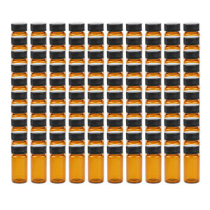 Glass Vials Bottles With Black Caps 10ml 15ml 20ml Lab Glassware 100pcs set