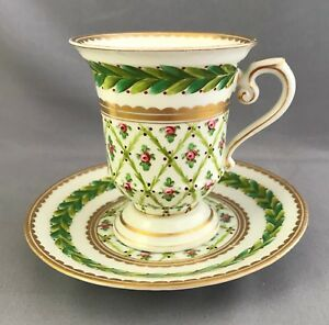 Antique Hand Painted Dresden Saxe Cup Saucer