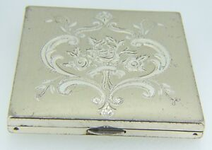 Sterling Silver 135 9 Grams Wadsworth Vintage Makeup Compact Case
