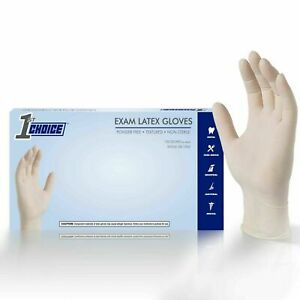 1st Choice Ivory Latex Exam Powder Free Disposable Gloves case Of 1000