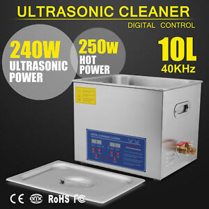 Stainless Steel 10 L Liter Industry Heated Ultrasonic Cleaner Heater W timer