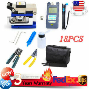Portable Fiber Optic Ftth Tools Kits Fc 6s Fiber Cleaver Optical Power Meter New