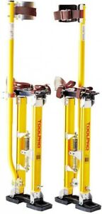 Adjustable Metal Magnesium Drywall Stilts 18 Inch To 30 Inch Padded Yellow