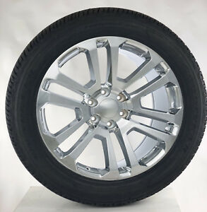 Chevy Silverado Suburban Tahoe Rims 22 Chrome Split Spoke Wheels Goodyear Tires
