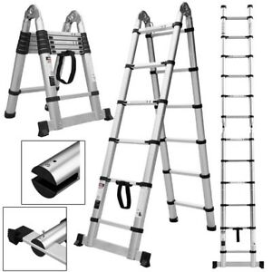 Folding 12 5ft Aluminum Platform Step Stool Portable Working Telescopic Ladder