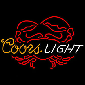 Coors Light Crab Neon Sign Display Beer Bar Pub Real Neon Light Sign Custom Z475