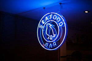 Seafood Neon Sign Display Restaurant Beer Bar Pub Real Neon Light Custom Z459