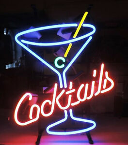 Cocktails Martini Neon Sign For Beer Bar Pub Garage Real Neon Light Xmas Z035