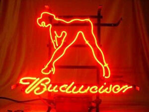 Budweiser Girl Light Neon Sign Store Display Beer Bar Sign Real Neon Custom Z102